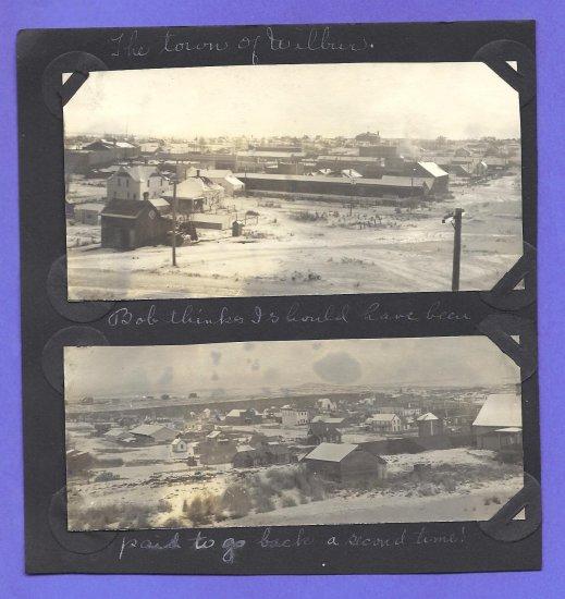 1917 2 Photos Town View of Wiibur WA Washington in Winter Winter