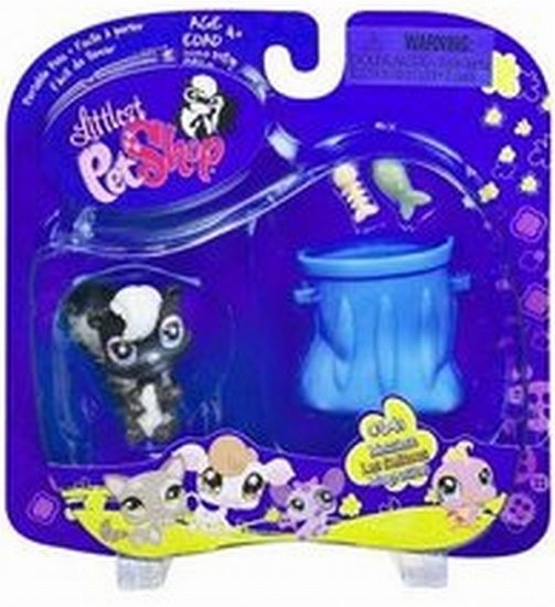 LITTLEST PET SHOP Messiest Skunk with Furry Tail Blue Garbage Pail Fish and Fish Bone #641