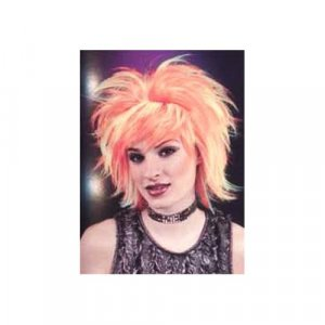 Short Shag Club Costume Wig with Orange and Yellow Streaks