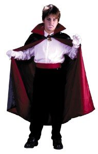 Cape Black Red Fabric Lined Reversible Magician Vampire Bat Child Size