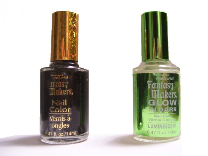 Black Nail Polish and Glow in the Dark Nail Polish - Two Bottles - Halloween Costume Accessory