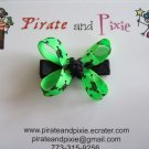 Neon Green Skulls Hair Bow