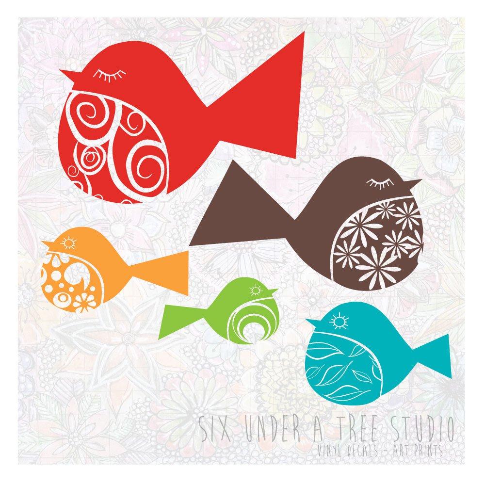 Fancy Birds Wall Vinyl Decals Art Graphics Stickers