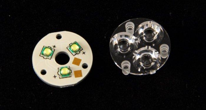 3x CREE XP G R5 on 20mm MCPCB Plus 20mm Carclo® Optics