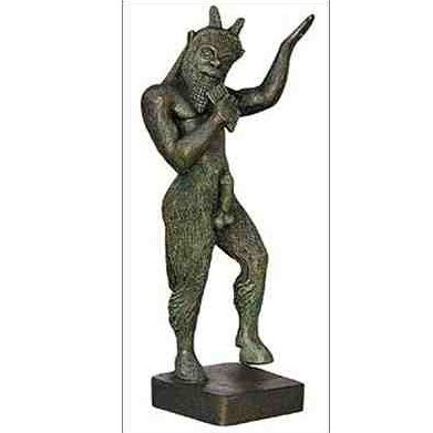 Ancient Greek God Pan Playing Reed Pipe Statue Sculpture