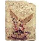Archangel Michael Slaying the Devil Wall Relief, Color