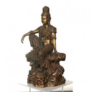 Large Royal Ease Kuan-Yin Buddha Bronze Statue