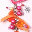 Fushia & Orange Beaded Chain Clip