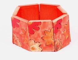 Wood Rectangular Bracelet w Red Painted Flowers