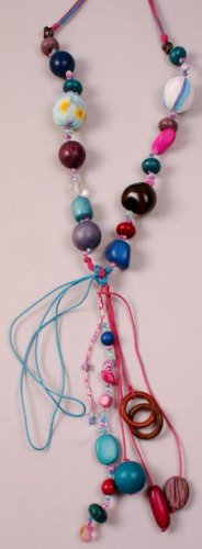 Blue & Pink Multi Colored Fabric Beaded Necklace w Long Dangles