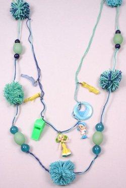 Green & Blue Necklace w Wool Pompoms