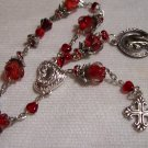 Red Roses Hearts and Crystal Rosary Bracelet