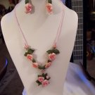 Delicate Pink Rose Necklace and Earrings Set
