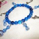 Blue Beaded Cheerleader Bracelet