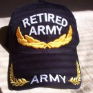 Army Retired cap black . one size  3d embroidery.1 dz caps. 12 total.