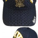 Navy Logo Metal Air Mesh Cap One size fits all in blue.1 dz caps. 12 total