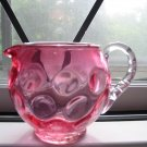 Fenton Dot Cranberry Pitcher With Bamboo Handle