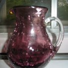 Crackle Glass Amethyst Pitcher Hand Blown