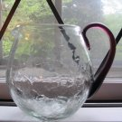 Crackle Glass Pitcher With Amethyst Handle  Hand Blown