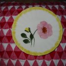 Blue Ridge Pottery Plate Yellow and Pink Flowers With Yellow Border