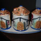 Salt and Pepper Shakers 5 Piece Set Incl. Under tray Very Different Marked Japan Salt Pepper