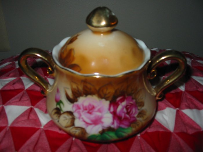 Floral Creamer and Sugar With Lid Marked Very Very Pretty Set