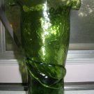 Crackle Glass Fluted Vase Hand Blown With Applied Leaf Very Pretty