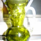 Crackle Glass Pitcher With Ribbed Handle Very Cute Piece