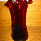 Beautiful Dark Red Crackle Glass Fluted Vase