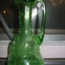 Crackle Glass Cruet / Pitcher Hand Blown Very Nice Piece
