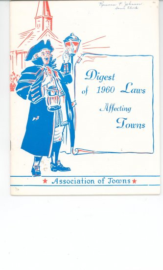 Digest Of 1960 Laws Affecting Towns Association of Towns New York State Vintage Item