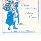 Digest Of 1961 Laws Affecting Towns Association of Towns New York State Vintage Item