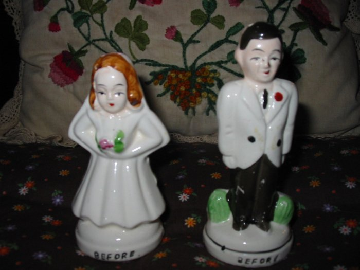 Vintage Before and After Bride and Groom Salt and Pepper Shakers Very Cute Marked Japan