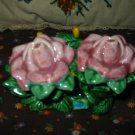Vintage 3 Piece Rose Salt and Pepper Shakers Very Nice Flower Set