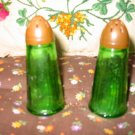 Vintage Green Glass Salt and Pepper Shakers Very Nice