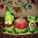 Vintage Frog with Holder /Tray Honey Pot Spoon 6 Piece Salt and Pepper Shakers Marked Shefford Japan