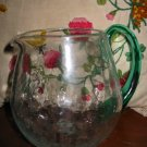 Crackle Glass Pitcher With Green Handle  Hand Blown