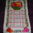 Vintage 1974 Calendar Towel Basket Of Fruit