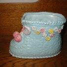 Blue Baby Shoe With Flowers  Planter Napco  8578 Vintage Item