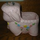 Musical Pink Lamb With Flowers and Yellow Bow  Planter Napco 1985  Vintage Item