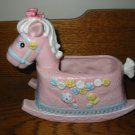 Pink Rocking Horse With Rattle and Birdie and Flowers  Planter Napco 9940  Vintage Item
