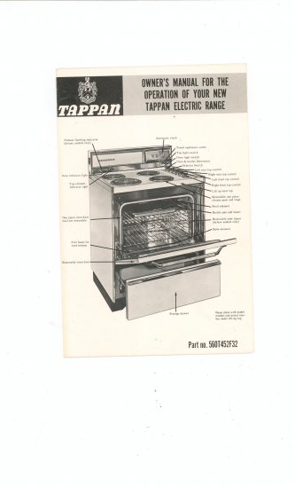 Tappan Electric Range Owners Manual Vintage Part # 560T452F32
