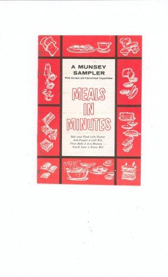 A Munsey Sampler Recipe & Manual Cookbook Meals In Minutes