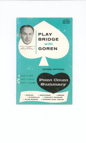 Vintage Play Bridge With Goren Point Count Summary by Charles H. Gorden  Book