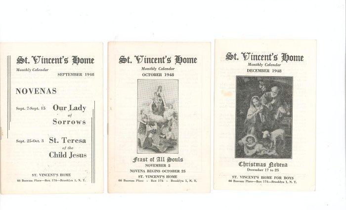 Lot Of 3 St. Vincents Home Monthly Calendar September October December 1948