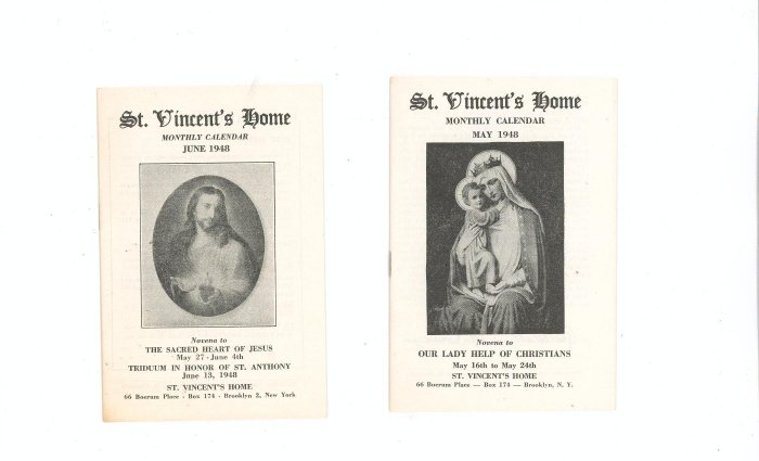 Lot Of 2 St. Vincents Home Monthly Calendar May June 1948