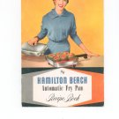 Hamilton Beach Automatic Fry Pan Recipe Book Manual Cookbook Vintage