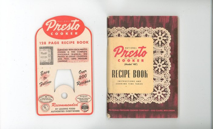 National Presto Cooker Model 40 Cookbook Manual  Original Display Tag Included With Prices Vintage