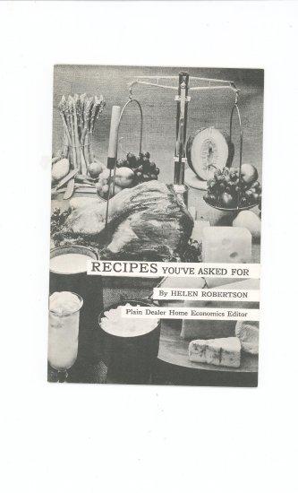 Recipes You've Asked For Cookbook by Helen Robertson Vintage Plain Dealer