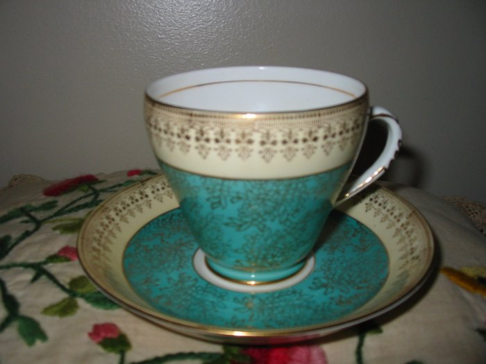 Cup And Saucer Blue / Teal / Green & Beige With Gold Trim by Royal Grafton Bone China England